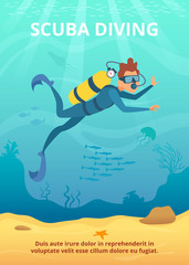 Underwater background picture with cartoon diver