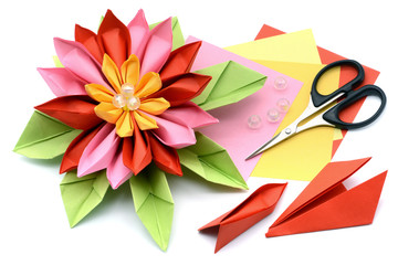 tinker a colorful paper water lily. origami on white isolated background