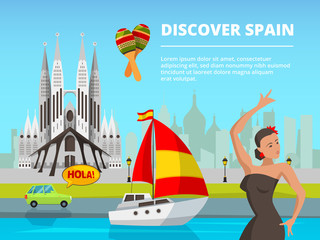Urban landscape of spain. Vector illustrations in flat style