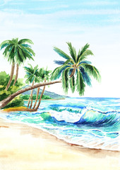 Seascape. Summer tropical beach with golden sand, waves and palmes. Hand drawn vertical watercolor illustration