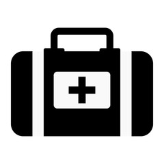Vector illustration icon of medical subject. Black on a white background. Doctor bag.