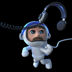 3d Funny cartoon spaceman astronaut chasing a pair of headphones in space