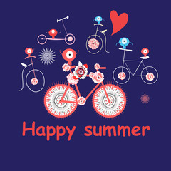 Merry summer vector card with funny bicycles