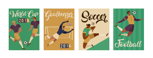 Football soccer player set posters of characters vector illustration