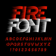 Fire alphabet font. Eeffect type letters and numbers on black background. Stock vector typeface. Easy color change.