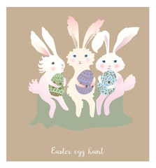 Funny rabbits with easter eggs. Vector illustration. Flat style.
