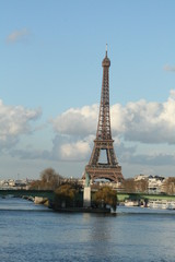 View of the Eiffel Tower from the River Seine, Paris, France