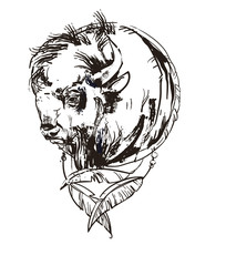 logo with bison head