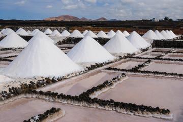 Salt works of Janubio in Lanzarote, Canary Islands, Spain