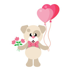 cartoon cute dog with tie and flowers and lovely balloons