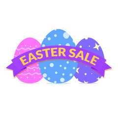 Easter sale banner with vivid colored eggs