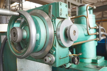 Scale feed on the machine for metal processing. Lathe, grinding and milling machine.