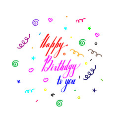greeting card birthday lettering with colored elements