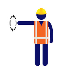 Vector pictogram man giving signal with right hand