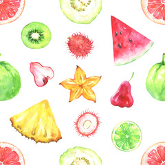 Hand painted seamless pattern with exotic fruits. Watercolor pineapple, rambutan, lime, kiwi, psidium guajava, grapefruit, carambola, chompu, watermelon isolated on white background