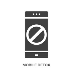 Mobile Detox Glyph Vector Icon Isolated on the White Background.