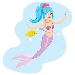 Beautiful young mermaid with yellow fish friend on water