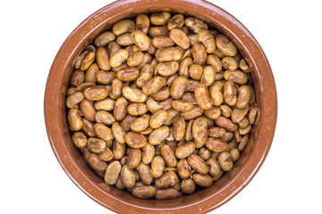 Roasted soya beans on a white background