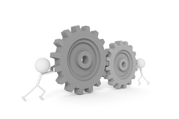 People model and machine gears with teamwork concept. 3D rendering.