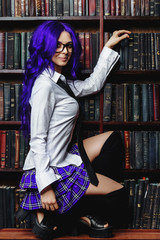 student with purple hair