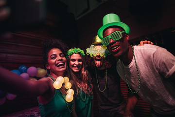 Selfie of St.Patrick's day celebration in nightclub