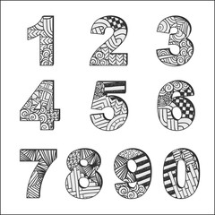 Zentangle doodle alphabet. Letters. Typography. Abstract punctuation marks.  English alphabet. Typeset.