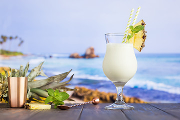 Cold pina colada cocktail