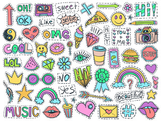 Patch badges set college doodles social media colorful