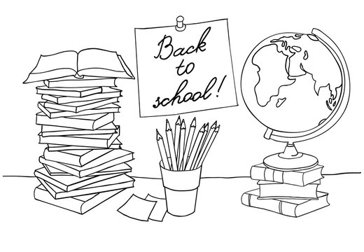 Coloring page, back to school.
