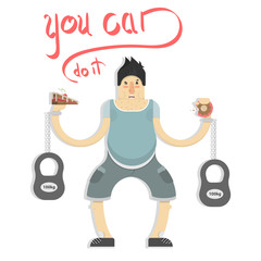 man picks up heavy weights, bad food and gym, cartoon character, vector image, flat design