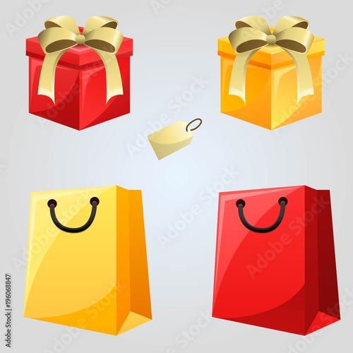 Set Of Bags Tickets And Gift Box Isolated On White Background Items