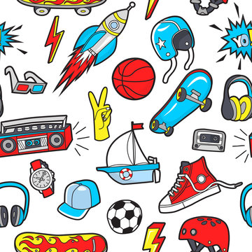 Vector seamless pattern with patches for boy's interests on white