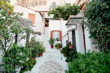 village of Anafiotika  under the Acropolis,Athens Greece