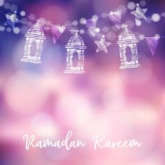 String of arabic lanterns, flags, lights and stars. Modern festive decorative blurred vector illustration background for muslim community holy month Ramadan Kareem.