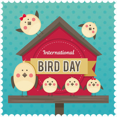 IlInternational Bird Day. Vector illustration for a holiday. Space for text