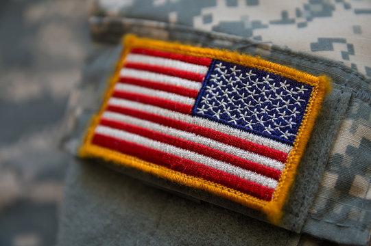 USA flag on military uniform