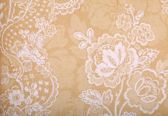 Vintage yellow  wallpaper with vignette victorian pattern