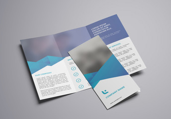 Trifold Brochure Layout with Blue Accents 2