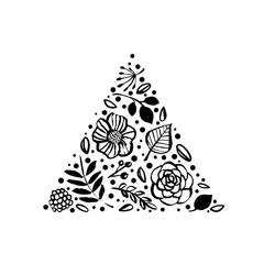 Flower triangle shape pattern. Floral botanical elements. Hand drawn illustration. Nature vector design.