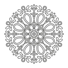 Beautiful Mandala Shape for Coloring. Book Page. Lines.