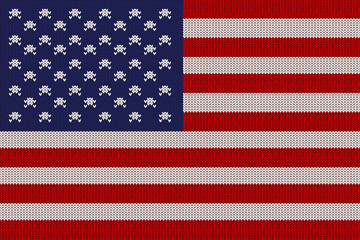 Flag of the United States of America on vector knitted woolen texture. Knitted flag of USA