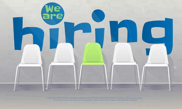 We are hiring banner. Vacant chairs near office wall