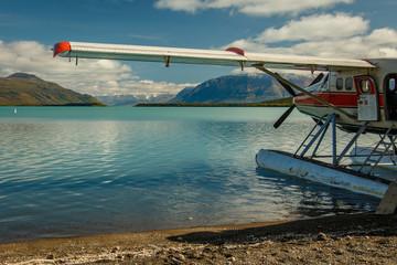 Hydroplane landed on Naknek Lake in Katmai NP, Alaska