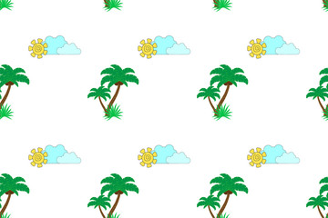 seamless pattern with palm trees, sun and clouds