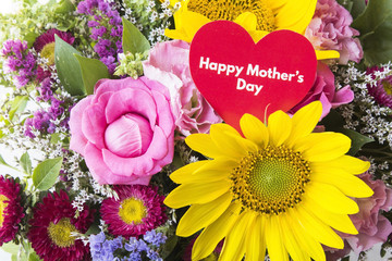 Happy Mother's Day,  Greeting Card,  with Bouquet of Flowers