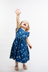Small child reaching up, isolated