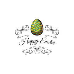 Happy Easter. Egg with a ribbon bow. logo. .