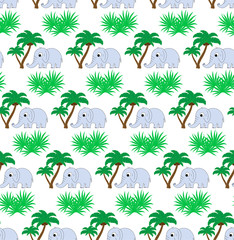 seamless pattern with palm trees and elephant. Modern design for the fabric.