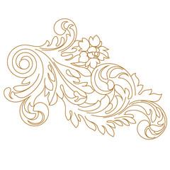 Golden vintage baroque ornament, corner. Retro pattern antique style acanthus. Decorative design element filigree calligraphy vector. - stock vector