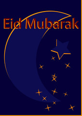 Grußkarte mit Halbmond in dunkelblau-gelb mit dem Text Eid Mubarak in rot. Vektorgrafik